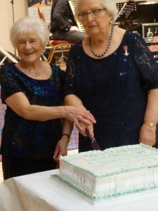 Moira and Elizabeth cut the Anniversary Cake