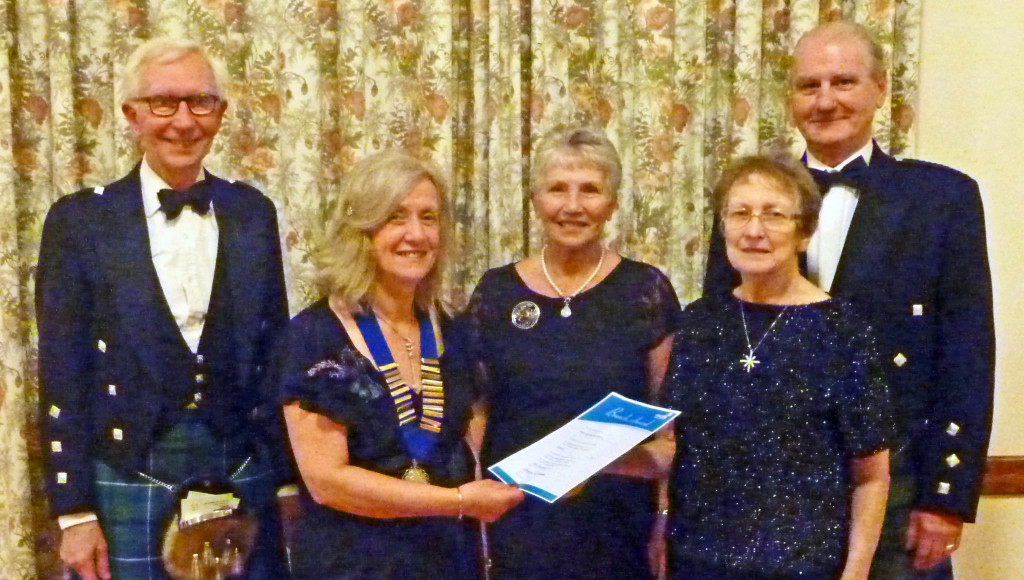 "Michael Clendinning, Past Chairman, Lucy Mulholland deviser of the dance ""City of Belfast"" and Ruth and Ronnie Barnes who received the RSCDS Belfast Branch's Award for devoted service to Scottish Country Dancing  with the Chairman, Aileen Patterson, at the St Andrew's Ball."